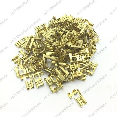 6.3mm Female Flag Terminal Lucar Connector Brass - Right Angled Spade