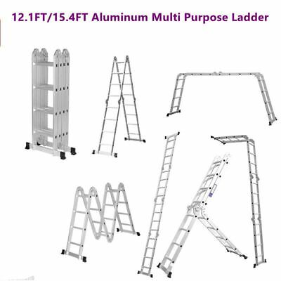 12.1FT 15.4FT Multi Purpose Aluminum Folding Step Ladder Scaffold Extendable
