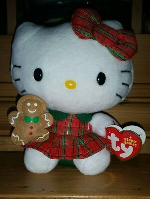 TY Beanie Baby HELLO KITTY Christmas Dress with Gingerbread Man 6 inch New NWT