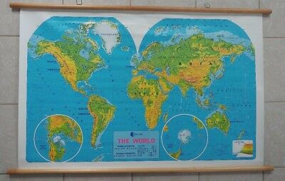 Vintage World Map Classroom Retractable w/Wooden Hangers