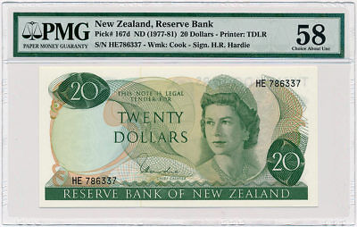 New Zealand - 20 Dollars ND/1977 - P167d * Queen Elizabeth * PMG About UNC 58