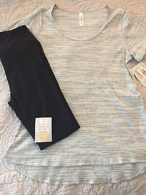 NWT Lularoe Solid Black OS Leggings and Light Mint Medium Classic T Outfit
