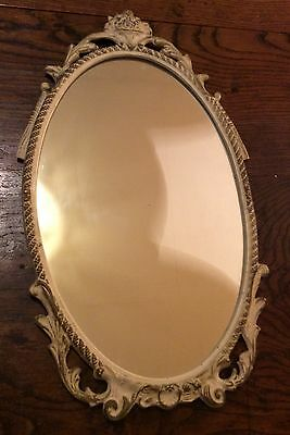 Vintage oval edged wall mirror metal frame  48 x 27 cm