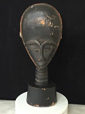 "Antique AFRICAN Carved Wood Head Statue 14"" Sculpture - Free Shipping"
