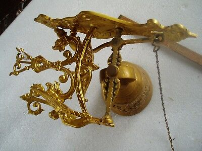 Vintage Heavy Brass  Pull Chain Motto Bell