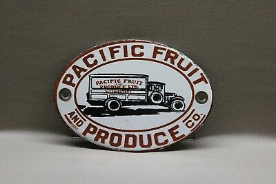 Pacific Fruit Produce Porcelain Sign Gas Oil Car Service Man  Farm