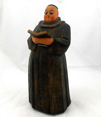 Antique German Hand Carved Wood PRIEST MONK FRIAR TUCK Figurine Erzgebirge