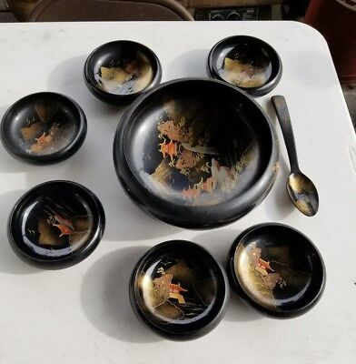 Vintage AIZU Lacquer 8 Pc Set Black Lacquer Ware Soup Salad Bowl Set Japan