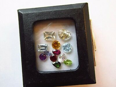 Natural Mixed Faceted Loose Gemstone Parcel Lot Green Tourmaline Rutilated