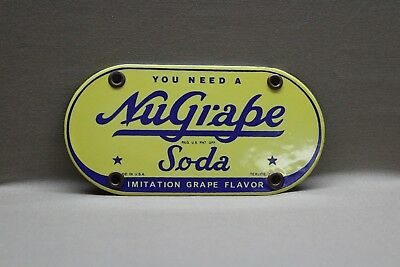 Nugrape Grape Soda Pop Texas  Porcelain Sign Gas Oil Car Service Man  Farm 66
