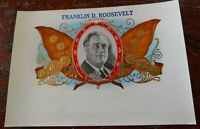 PRESIDENT FRANKLIN DELANO ROOSEVELT INNER CIGAR BOX LABEL ORIGINAL 1940's