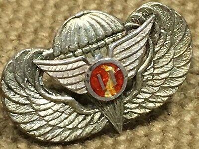 WWII Paratrooper Wings 11th Airborne Miniature Red Enamel Lapel Pin Screw Back