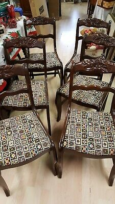 Set if 6 Duncan Phyfe Dining Room Chairs Mahogany Needlepoint Fabric Rose Cut