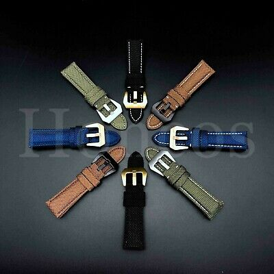 24MM Canvas Stitch Calf Leather Watch Band Strap Fits for Panerai Luminor Buckle