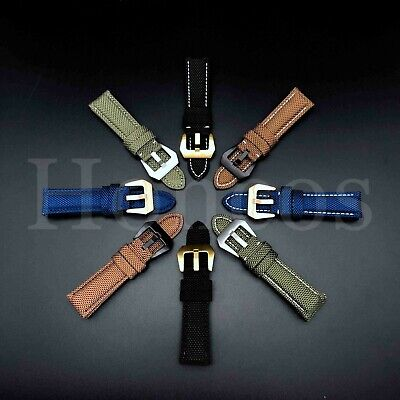 24mm Canvas Stitch Calf Leather  Watch Band Strap Fits for Panerai