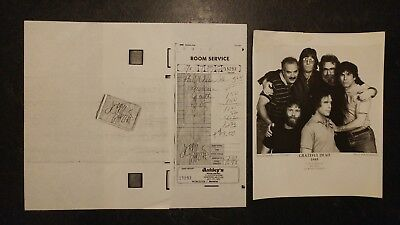 Grateful Dead - 1985 Glossy Photo & Copy of Room Service Bill - Album RARE Find!