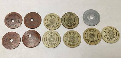 Lot of 11 Oklahoma Sales Tax For Old Age Assistance Tokens Depression Era OK
