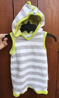 Purl Lamb 6-12 Dino Romper Hoodie Shorts Gray Green Striped Unisex