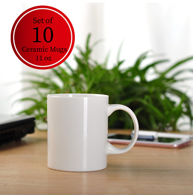 [Set of 10] 11 oz Blank Ceramic Mugs, Sublimation Printing, Household, Kitchen