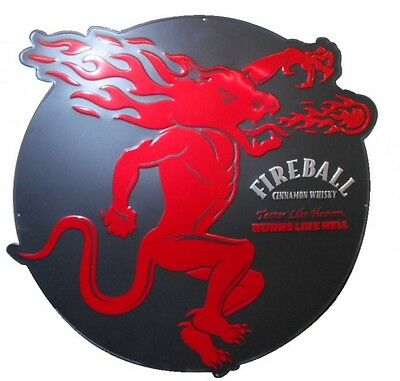 Fireball Whiskey Large Round Metal Bar Sign 32""