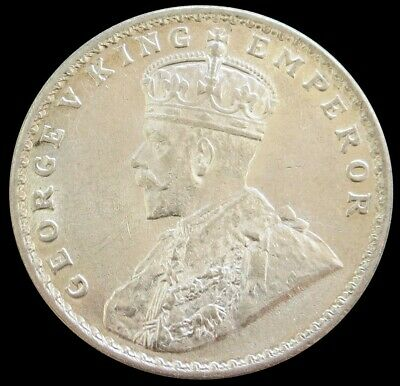 1918 Silver India British Rupee King George V Coin Mint State Condition