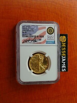 2016 W 50C Walking Liberty Gold Half Ngc Sp70 Early Releases Standish Signed