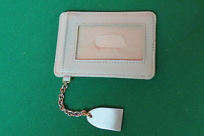 Jones New York Light Gray Faux Leather ID Credit Card Holder Wallet with Chain