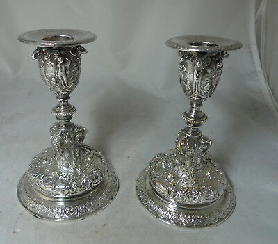 Antique Silver Plated Candlesticks By Elkington & Co 13.5cm A602017