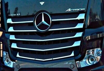 Mercedes Actros MP4 Radiator Grille Covers Super Polished Stainless Steel 11 Pcs