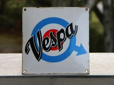"VESPA OLD PORCELAIN SIGN ~4-3/4""x 4-3/4"" PIAGGIO GAS SCOOTER OIL TAP ADVERTISING"