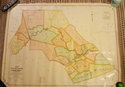 1915 Colored MAP OF THE PUBLIC ROADS IN CLINTON COUNTY, PENNSYLVANIA