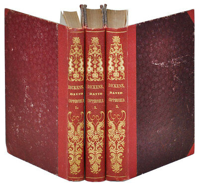 Charles Dickens-DAVID COPPERFIELD (1849-1850)-1ST TAUCHNITZ EDITION-3 VOLS.-VG+