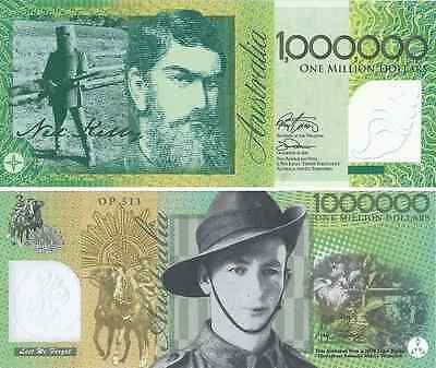 1x NED KELLY & Aussie Digger Solider $1000000 Australian $ 1 Million DOLLAR NOTE