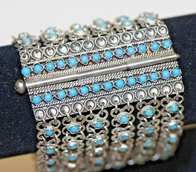 Vintage Sterling Silver with Turquoise Byzantine Multi Chain Bracelet WOW