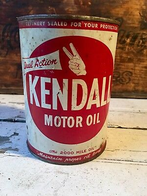 Vintage Filling Station Advertising 1 Gal. Kendall 2000 Mile Motor Oil Tin Can