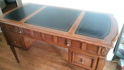 Antique Style Four Drawer Black Leather Top Wood Writing Desk Library Table