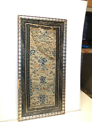 Antique Chinese Forbidden Stitch Tapestry Framed