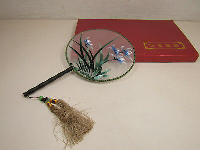 Chinese Emboridered Hand Fan Blue Flowers In Grass In Decorative Box