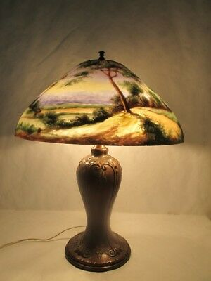 Spectacular C.1910 Jefferson Lamp With Signed Shade With Wondrous Landscape