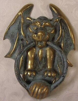 Vintage old Weathered Phantom Bat Bird Bronze Door Knocker Gothic