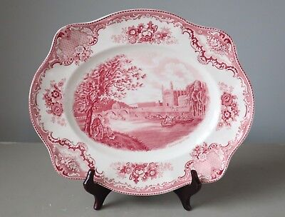 Johnson Brothers Old Britain Castles Pink Oval Serving Platter 12""