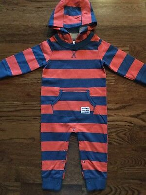 Nwt Carter's Boys Size 12 Months Striped Hooded One Piece Outfit Msrp $20.00
