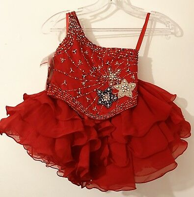NWT Unique Fashions Girls Pageant Dress Red Size 2 NEW UF703