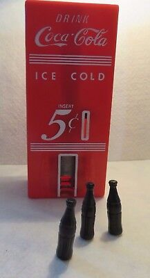 Vintage Coca Cola Toy 5 cent Bank with 3 bottles