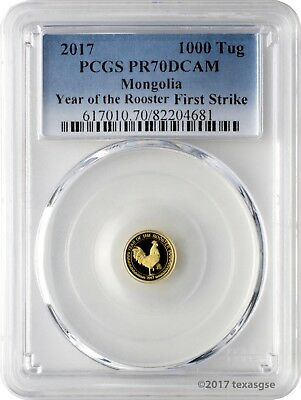 2017 1000 Togrog Mongolia Year of the Rooster .9999 Gold Proof PCGSPR70DCAM FS