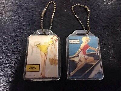 Vintage Signal Oil Service Station Key Fobs Long Beach Pin Up Girls