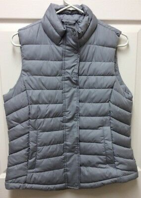 GAP puffer gray VEST jacket women's M zipper and snaps