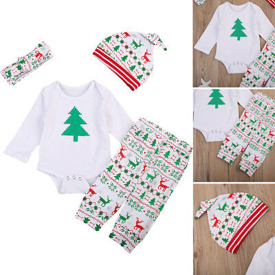 4pcs Newborn Infant Baby Boy Girl Christmas Romper Pants Hat Clothes Outfits Set