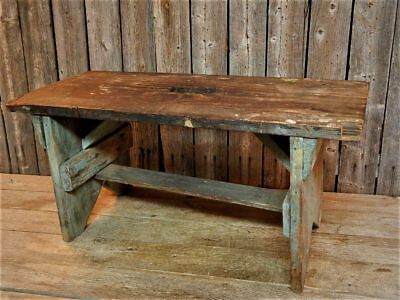 Antique Primitive Rustic Wood Barn Bench Stool Old Grey Blue Paint AAFA