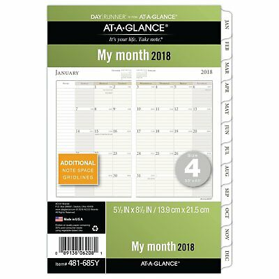 AT-A-GLANCE Day Runner Monthly Planner Refill Pages, January 2018 - December x 4